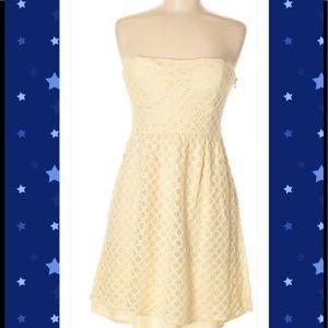 Francesca's Strapless Yellow Dress